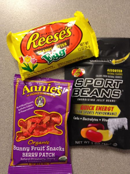 gummy bunnies, peanut butter eggs, and - of course - sport beans
