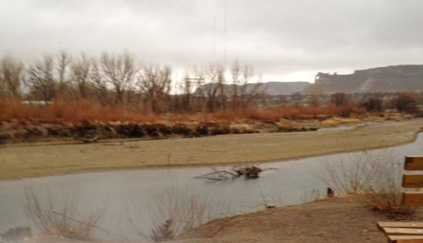 Snapped during today's run, just as the ice pellets began falling. The North Platte River is low - so low!