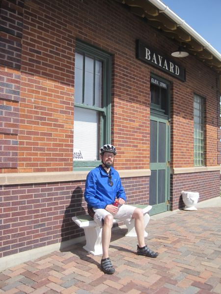 Bugman resting at the refreshment stop at the Bayard Depot Museum.