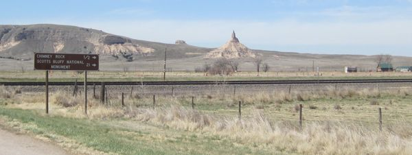 ... and turned onto the modern highway that follows the Oregon-California Trail past Chimney Rock.