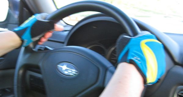 """Is it dorky to drive with cycling gloves on?"""