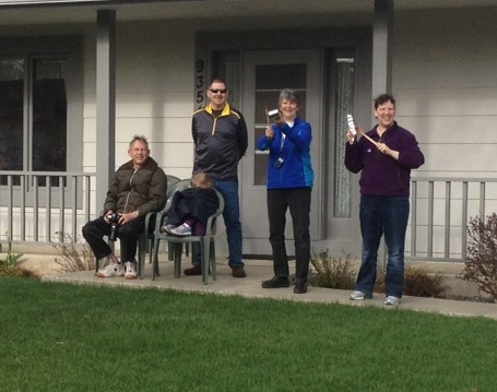 I loved that this family was making noise. Not so sure their neighbors loved it so much at about 8:30-9 o'clock on a Saturday morning. But the whole neighborhood should have been out watching the race, so there!