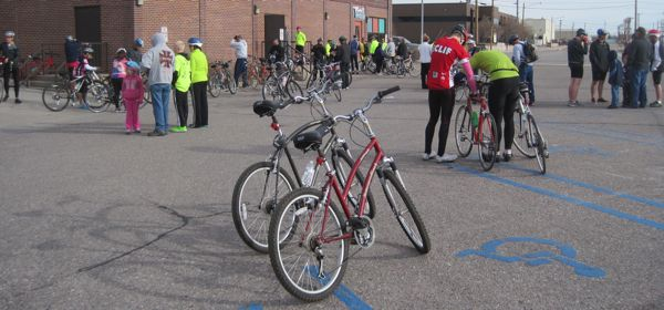 Cyclists gather for the Y Not Ride.