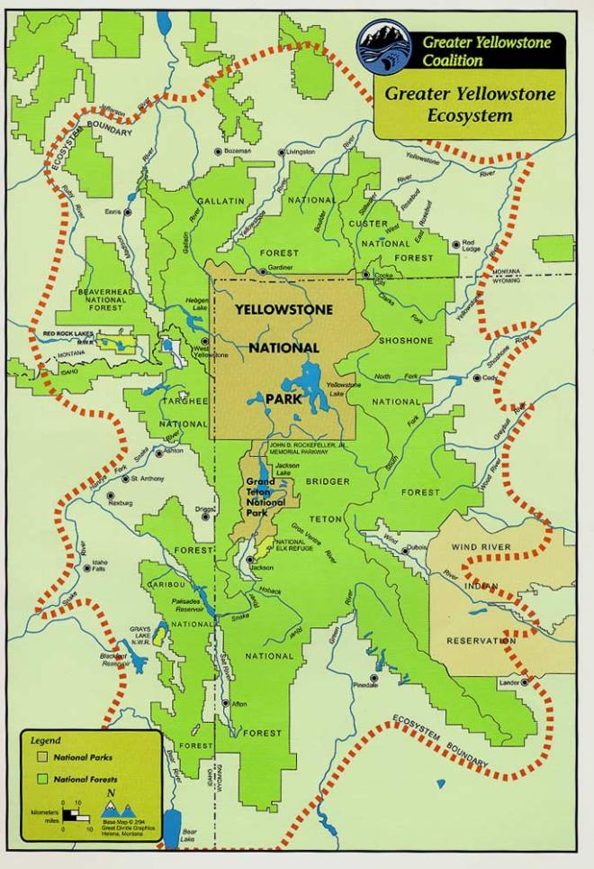 The towns we stayed in or near are marked on this map: West Yellowstone, Ennis, Livingston, Gardiner, Cooke City, Cody, Red Lodge.