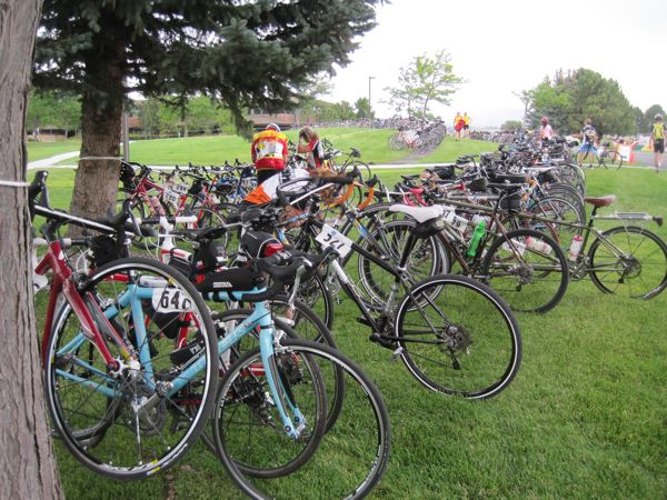Bike parking in Cody. There's another tandem in there - see?