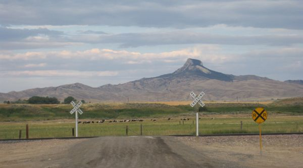 Heart Mountain. I'd recognized its silhouette from the artwork I saw on display in the Cody library - done by a Japanese internment camp resident during WWII.