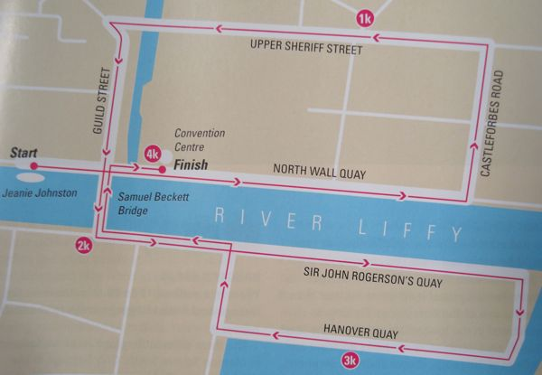 Here's the route map of the 2013 run from the race program.