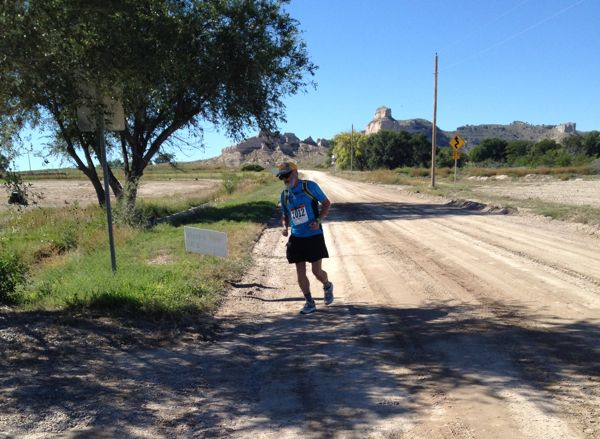 A slightly blurry photo of my friend Jim turning onto the final stretch of his first marathon. Yaaay, Jim!