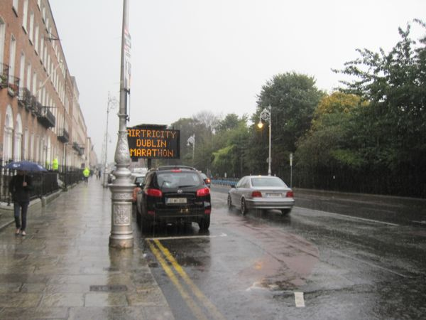 Early warning of road closures due to the marathon at Merrion Square Park. Glad I packed an umbrella!