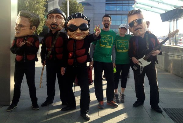 "Yes, we did get to meet U2. And Bono. These costumes were pretty funny, given the comment a friend heard from an Irish tour guide our her visit to that country earlier in the month ""does your country want to adopt Mr. Bono? His head is too big for Ireland now."""