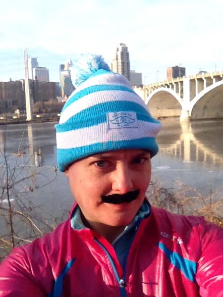 Me on the riverfront before the race. Many of us sported real or ersatz mustaches for the run. The adhesive on my faux facial hair stuck very well, but that must not have been the case for other, cheaper fake mustaches. The course was littered with shed 'staches. It looked like there had been an invasion of bloated black wooly bear caterpillars.