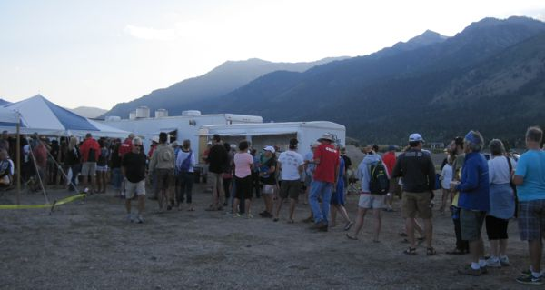 The food line at the Ranch Lot campsite in Teton Village on Day 0.