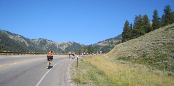 Here's what it looked like at about mile 11 of the morning's ride, not even halfway up the Teton Pass yet. We were taking just about every opportunity to pull out and stop for a breather, but our opportunities were limited. If we didn't find a pullout or driveway set back far enough from the road to get a bit of perpendicular momentum, the slope was too steep for us to get started again. It's a real trick to start a tandem on an upslope - one we haven't mastered yet.
