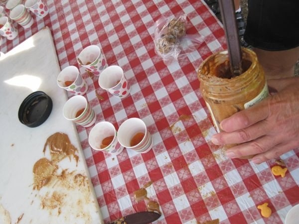 Not a real pretty picture, but it demonstrates two things. 1. We bikers are a bit messy, and the volunteers who cleaned up after us have my sympathy and gratitude. 2. Dried apricots + almond butter as a snack. I wanted to remember this, as the combination was SOOO GOOOD! It was exactly what I needed at that particular time. There were a couple of Goldfish swimming on the side of the picture as evidence of the rest of the rest stop treat.