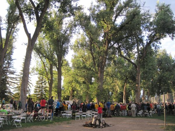 A crowd gathered under the trees for the evening entertainment - a performance by the Eagle Spirit Dancers from the Eastern Shoshone and Northern Arapaho tribes, who dance during tourist season at the Museum of the American West in Lander. The dancers demonstrated various types of powwow dance. I am always impressed by the athleticism of powwow dancers. It is not easy!