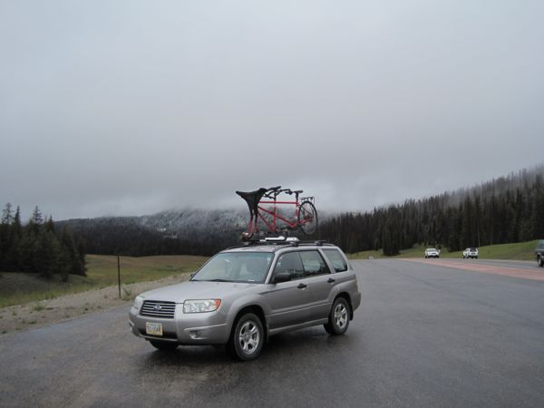 The final image of Cycle Greater Yellowstone 2014: our bike atop the car, on frosty Togwotee Pass. Next year, I will for sure bring my rain pants!