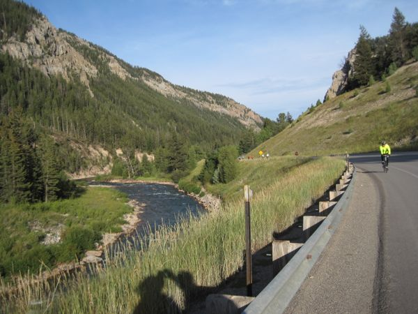 A look backwards as we pedal along the Hoback River, into the Gros Ventre Wilderness.