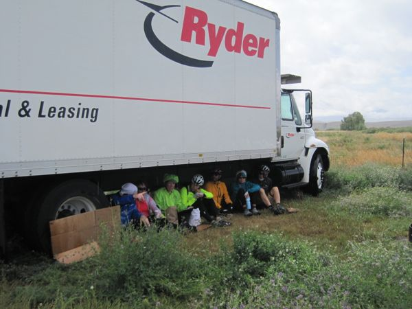 "When these cyclists vacated their spot, Bugman and I took their place. A fellow cyclist commented, ""Did you ever think you'd be eating lunch under a truck?"" Nope, can't say that I have."