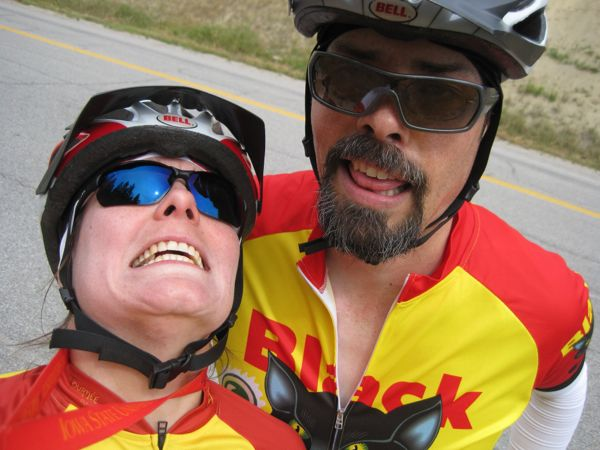 What we look like after 18 miles of steady climb, with the steepest part coming right at the end. *gasp!*