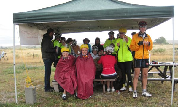 It was still raining when we got to the lunch stop at the fire station at Crowheart. But people were still smiling!