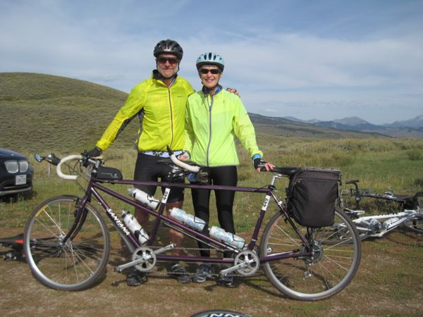 Another tandem! A purple one! We got to know this captain and stoker a little bit., since they had contacted us via this blog before the ride. Tom and Pat are from Minnesota. I hope we can get out there sometime and ride with them. I have lots of relatives in the Twin Cities area.