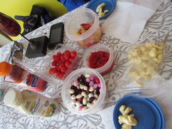 Our Valentine's day red-and-white food picnic: grape tomatoes, cheese curds, roasted red peppers, banana-and-strawberry salad, yogurt-raisin/peanut-M&M/dried-cranberry trail mix, and to drink, a white chai beverage and a red fruit smoothie.