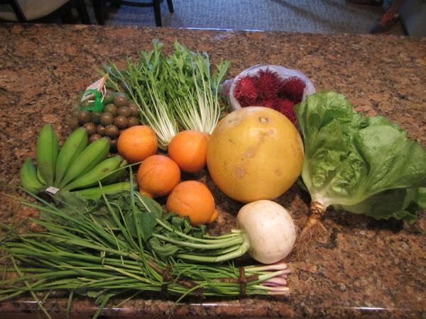 Second haul, from the Tuesday afternoon farmers market in the parking lot of the Kalaheo Neighborhood Center. This was the smallest of the three markets we attended, with only about 4 or 5 vendors present that day.