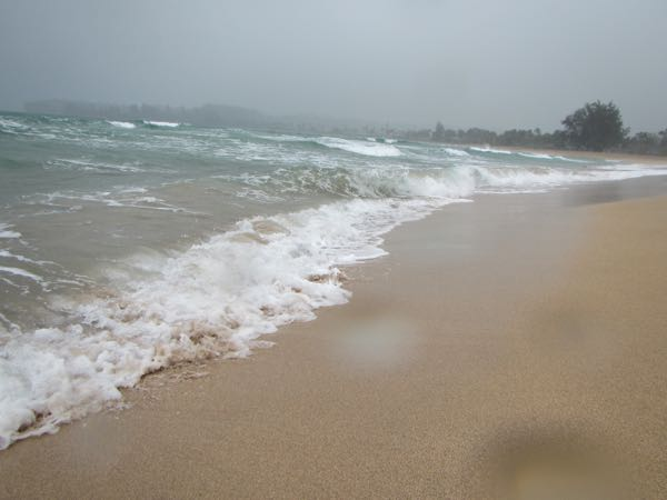 What the beach at Hanalei Bay looks like in the rain.