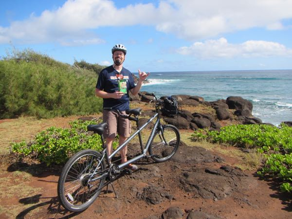 There is arguably no better place to eat a box of Girl Scout cookies after an invigorating tandem ride than a Hawaiian seaside cliff.
