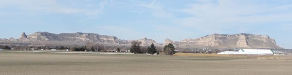 You get nice views of Scotts Bluff National Monument and Mitchell Pass on the other side of town.
