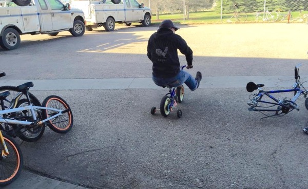 Me, wheelin' on a kiddie bike. Photo by Susan Wiedeman for Keep Scottsbluff-Gering Beautiful
