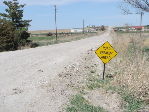 """Road breakup ahead""? I'm not too sure what that means, exactly. But surely, this could be inspiration for a country song!"
