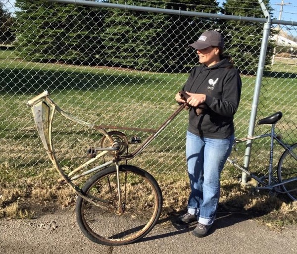 The what-the-heck bike. I had fun imagining how this Frankenstein of a bike might have functioned. Photo by Susan Wiedeman for Keep Scottsbluff-Gering Beautiful