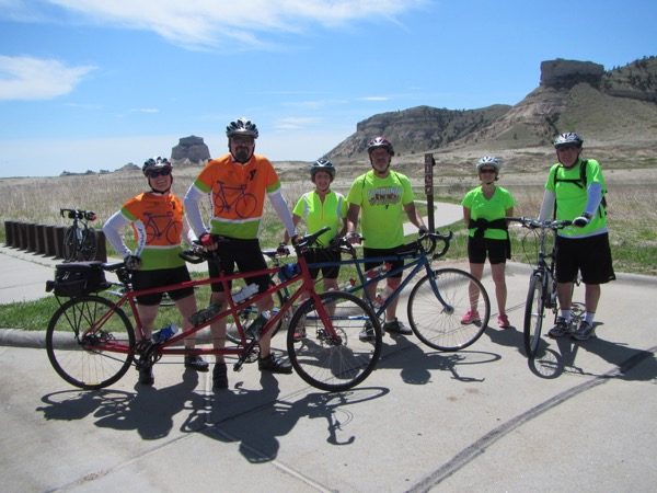 Here is a portion of the mini tandem rally in the parking lot of Scotts Bluff National Monument. The bike at right is a tandem - it's just turned at the wrong angle to see it.