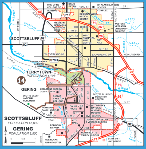 Scottsbluff Gering Terrytown bike map