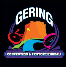 And to represent the things you can do here (cycle, golf, stroll by the river, fish): the Gering Convention and Visitors Bureau logo.