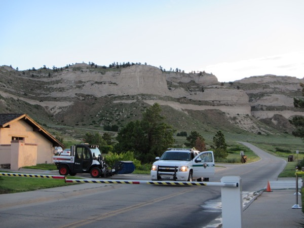 They arrive extra-early to make sure the road would be safe for the bikers and took a sweeper to the road to clean up a bit of rock that had crumbled onto the road overnight.
