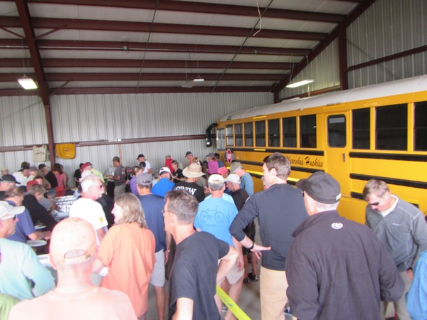 There was a sheltered area inside the school bus barn for serving food. It was real nice to have that, in the event the weather took a turn for the worse.