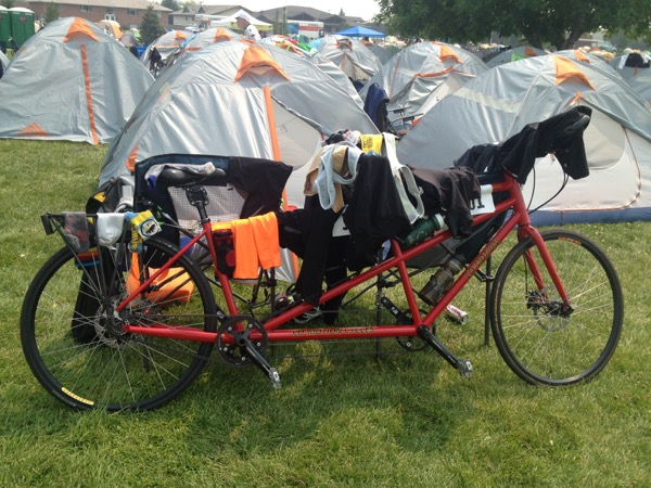 Back in camp, drying laundry on our multi-purpose tandem.