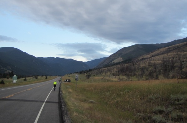 There was some of our emergency support crew up ahead, keeping watch on us riders. 7 a.m. now - a few clouds developing.