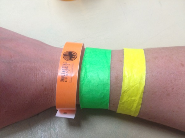 My ride bling this year. The orange rider ID band, green band for vegetarian meals (I'm not a vegetarian, but I don't eat very much meat, so I prefer to go the veg route on this ride), and the yellow