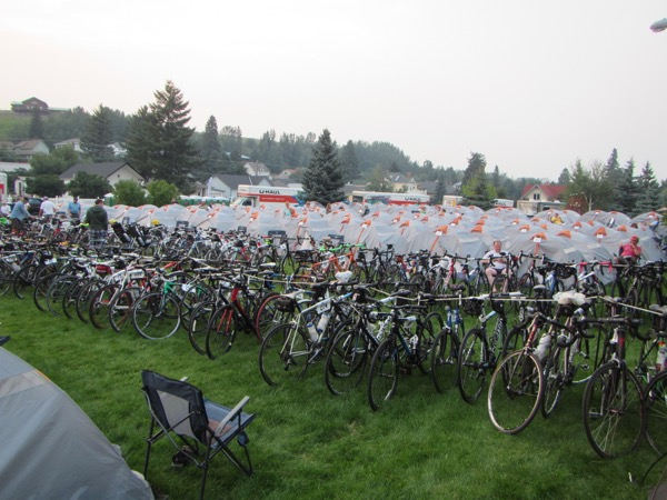 Sherpa tents and bike corral, at our campsite for days 0, 2, and 7 in Lions Park. I'm glad we got to give Red Lodge another shout-out, since in 2013 wildfire scuppered our stay there.