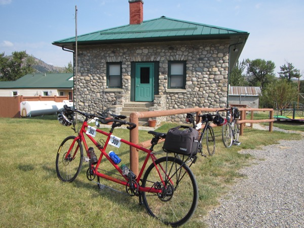 The Nye School building, with our bike.