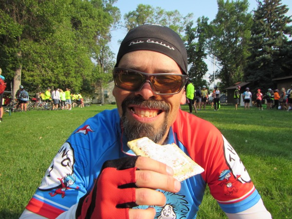 Very soon, we were already at the break stop in Joliet at mile 35, in a lovely little treed park. I asked Bugman to give me a Pop Tart smile.