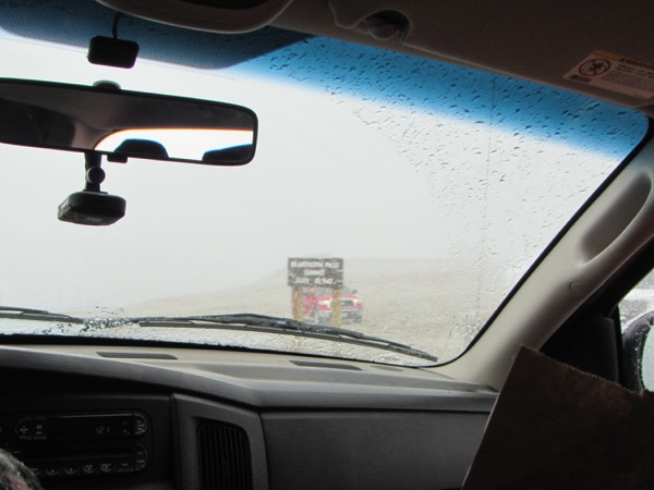 This is our decidedly non-triumphant Beartooth summit picture, from the inside of a pickup truck belonging to one of the radio volunteers. Oh well. You win some, you lose some. I'd probably consider this one a win, though. We didn't get hypothermic. As we passed dozens of cyclists still out there pedaling away, braving the rain at the lower elevation, gutting up that final, awful climb into camp, I was in awe. There were a lot of tough people out there!