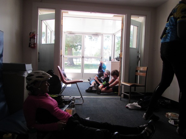 "The school was kind enough to open up the atrium to the gymnasium to allow us a little shelter. My mood was kind of grim. I wasn't sure if we'd be able to complete the ride. But a couple of people on their way out were psyching themselves up, and their gumption rubbed off on me. ""Maybe we can try making it to Bearcreek,"" I said to a skeptical Bugman."