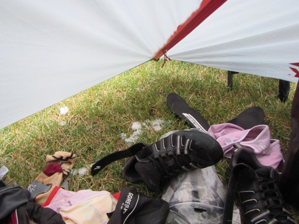 It hailed in camp, too. You can see some little piles of hail under the tent fly (which hadn't been staked out), just beyond the pile of soggy, wet clothing I ejected from the tent. It felt so good to get into dry clothes and climb into my sleeping bag to warm up!