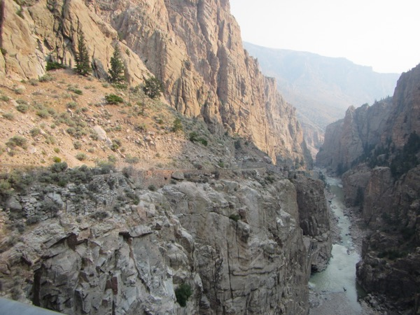 The view down the canyon from atop the dam. You can just make out a couple of cyclists climbing. Well done, cyclists!