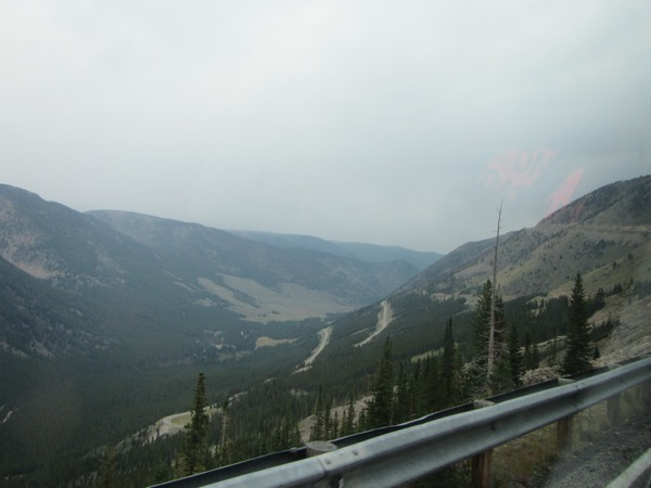 The view from the sign van window, looking down, down, down at the switchbacks we were bypassing.