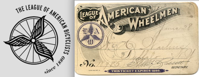The spoked-wheel-with-wings logo from the League of American Bicyclists came from the logo of its founding organization - the League of American Wheelmen. (Images screen-grabbed from the LAB website)